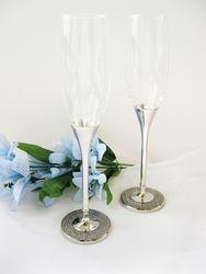 Glitter Glamour Wedding Toasting Flutes