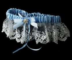 Bridal Garter White with Light Blue Accent