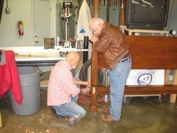 Dan receiving help from Wayne Mills