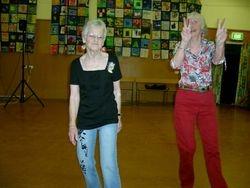 Typical Helen with Pat Cosgrave dancing at Raumati's Xmas social