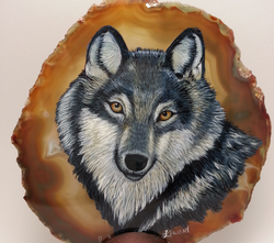 Grey Wolf on Agate