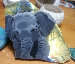 Elephant  on Labradorite