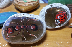 Ant and Lady bird on Emma eggs