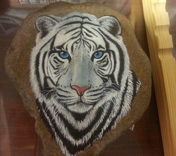 White Tiger on river stone