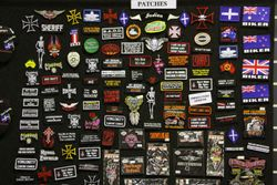 SOME OF THE PATCHES ON THE PATCH WALL FOR SALE