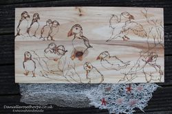 Puffin Pyrography Commission