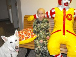 With little boy in Ronald McDonald House who lives for dogs