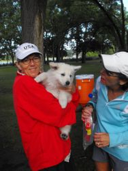 Brinkley (Pongo, black collar male) at Women's Race with Lynn and Kit