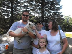 Jasmine joining her family for a return trip to South Haven, MN. Jasmine will be shown in conformation, might learn tracking, and will learn how to swim. Not pictured is Chief who came to bring new pack member home.