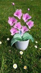 Orhideja iz najlonk: ROZA - SIVA