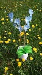 Orhideja iz najlonk - velika: SVETLO MODRO-BELA