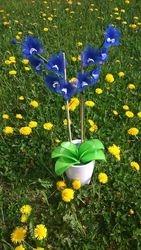 Orhideja iz najlonk - velika: ZIVO MODRO-BELA
