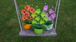 Orhideja iz najlonk: ORANZNO-ORHIDEJNO VIJOLICNA in ZELENO-RUMENA in ROZA-BELA
