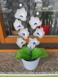 Orhideja iz najlonk: BELO-MODRA