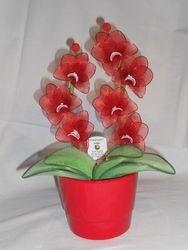 Orhideja iz najlonk: RDECE-BELA