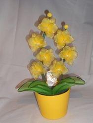 Orhideja iz najlonk: RUMENO-BELA
