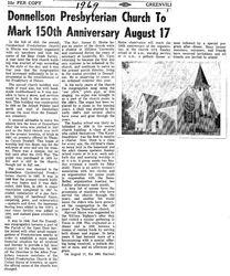 150th Anniversary of Donnellson Presbyterian congregation