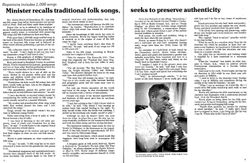 Minister Recalls Traditional Folk Songs, Seeks To Preserve Authenticity