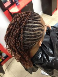 INVISIBLE CORN ROW BRAIDS WITH KINKY ROPE TWIST ENDS