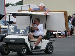 Dennis McCright giving Bill Gipson a ride