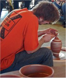 Eck turns an agate vase
