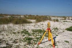 Conducting elevation surveys on the restoration plots