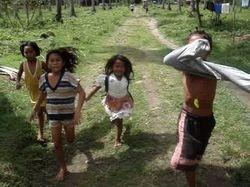 the children ran after the van