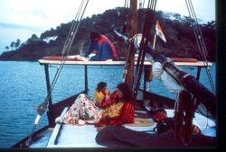 Friends on bord  Panoliem, Goa / India  1984