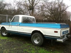 GMC long bed, blue and white