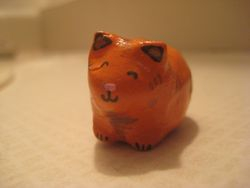 Painted Clay Kitty made for Hope