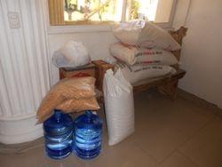 Supplies waiting in church