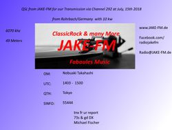 JAKE-FM via Channel292