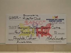 $4500 Cheque promoting Prostate Cancer Awareness