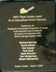 Thayer Lindsley Award for Major International Mineral Discovery at Dolin Creek, Alaska