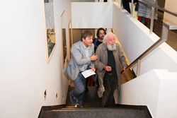 at the opening of Fred Bervoets' Print room / Prentenkabinet. Director K. Cuypers with painters F. Bervoets & G. Donkers