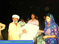 President of Hf and G.Secretary of NOCDP Distributing Shelter Kits and NFIs at Tehsil jampur, Pakistan.