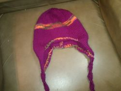 Needle knitted wool hat with ear flaps Jo Ann