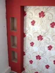 Forme rigips dormitor si tapet cu vinil