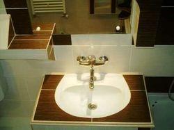 Lavoar baie cu mobila din rigips placata cu faianta