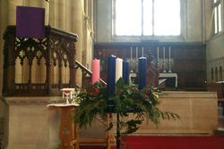 The pulpit & advent candles