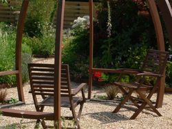 chairs and pergola