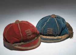 Classic England International Football Caps: Blue England v Scotland School Boy International cap 1925 & maroon England v Wales School Boy International cap 1925