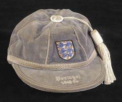 Stan Mortenson's England cap v Portugal 1949-50