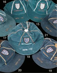 Collection of England football caps between 1967-1976