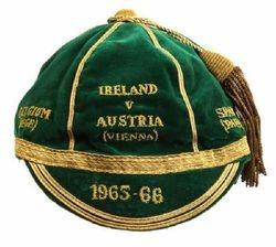 Shay Brennan's Republic of Ireland football cap 1965 v Austria, Belgium & Spain