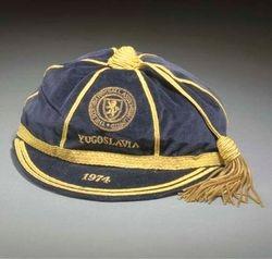 Willie Morgan's Scotland football cap v Yugoslavia 1974