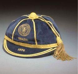 Willie Morgan's Scotland football cap v Brazil 1974
