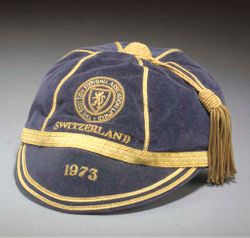 Willie Morgan's Scotland Football cap v Switzerland 1973