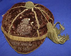 Benjamin Duff's 1891 South Africa Rugby Cap v British Isles
