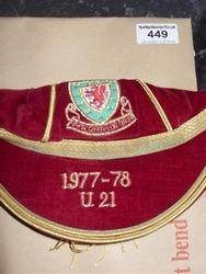 Wayne Hughes Wales U21 Football Cap 1977